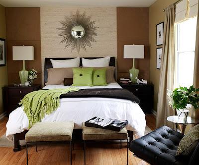 diseño dormitorio verde con marrón