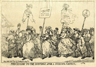 Procession to the hustings after a successful canvass  by Thomas Rowlandson, published by William Humphrey (1784)  © British Museum