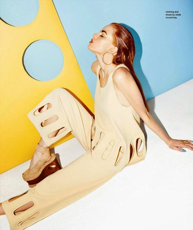Stella McCartney 2015 SS Creamy Colored Top and Wide Leg Pants Twin Set Editorials