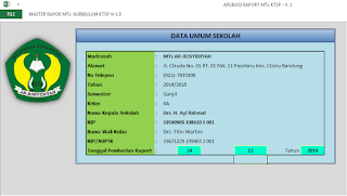 Input data sekolah Raport MTs