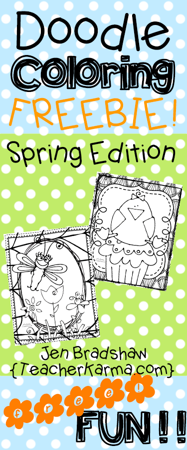 Easter and Spring doodle coloring sheets!  FREE!  TeacherKarma.com