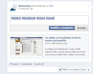 Cambiare Post Facebook