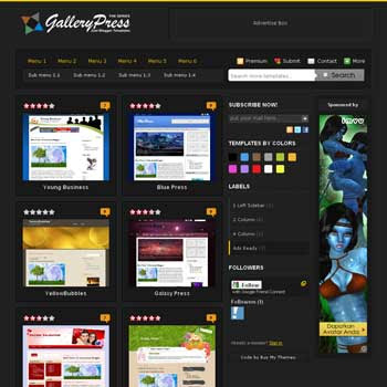 Black Gallery Press Blogger Template. blogger template from css template. photo template for blog.
