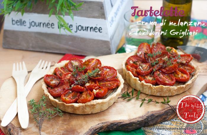 quiche dell'orto, con crema di melanzane e pomodorini grigliati al forno  - oven rosted cherry-tomato tart with eggplant mousse