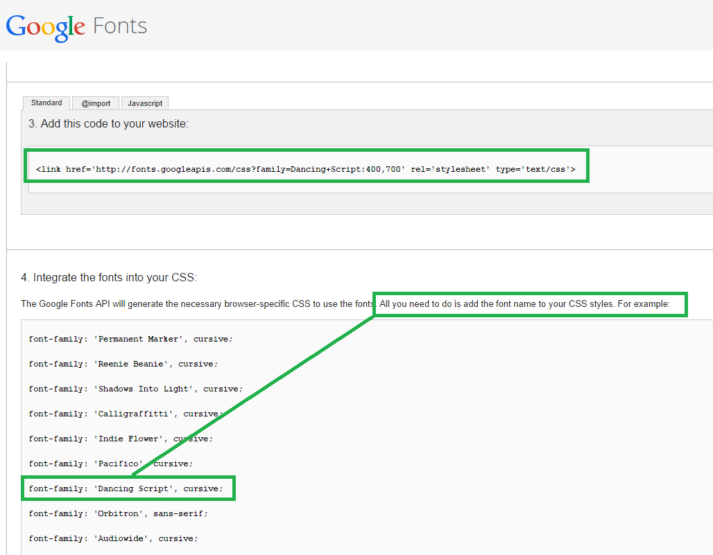 Add Google Fonts  to a Blogger's Blog