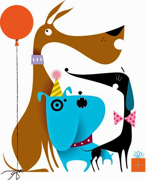 three colorful dogs illustration by Kirsten Ulve