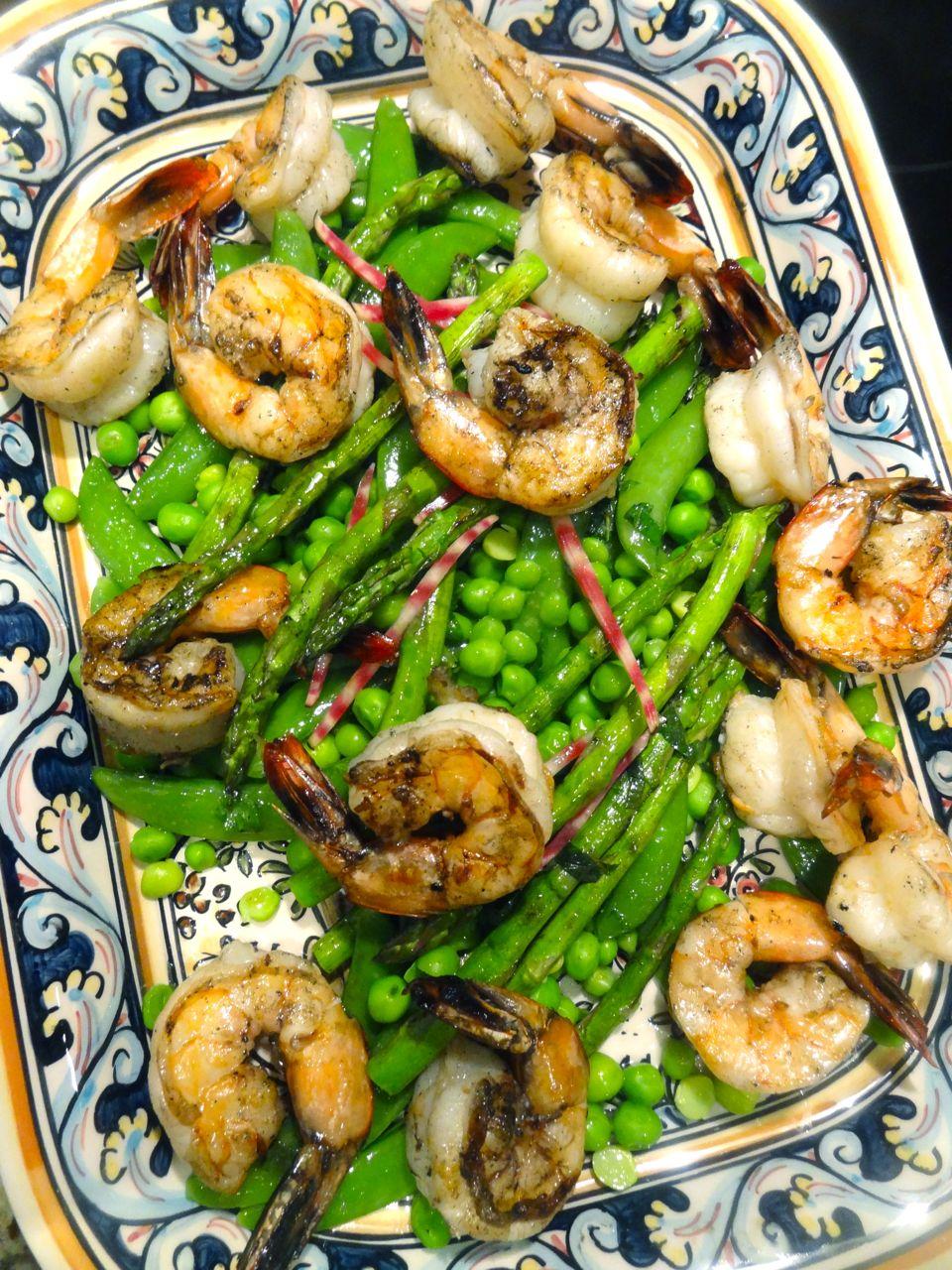 Scrumpdillyicious: Spring Pea & Asparagus Salad with Shrimp & Chioggia