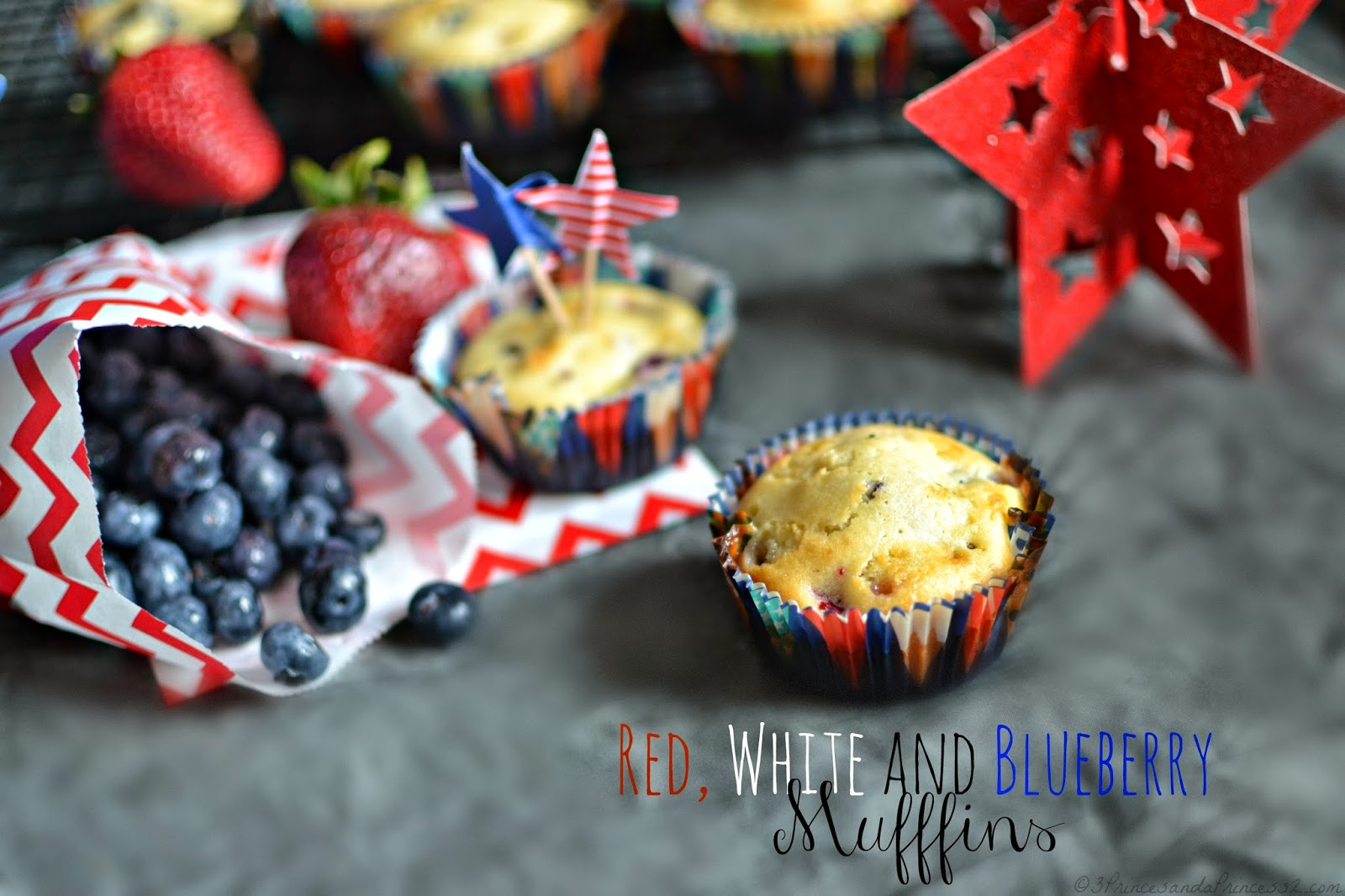 Red, White & Blueberry Muffin #Recipe #Patriotic