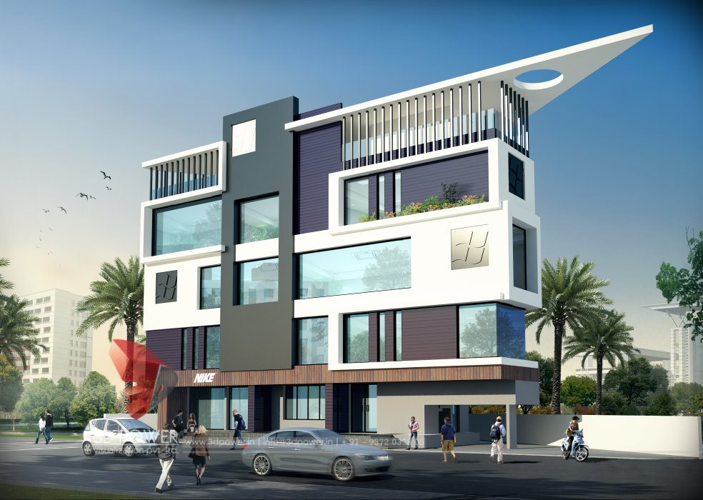 Design Of Front Elevation Of Commercial Building : Corporate building design d rendering