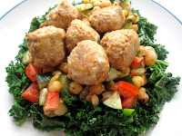 Sesame Spiced Turkey Meatballs with Chickpea Kale Salad