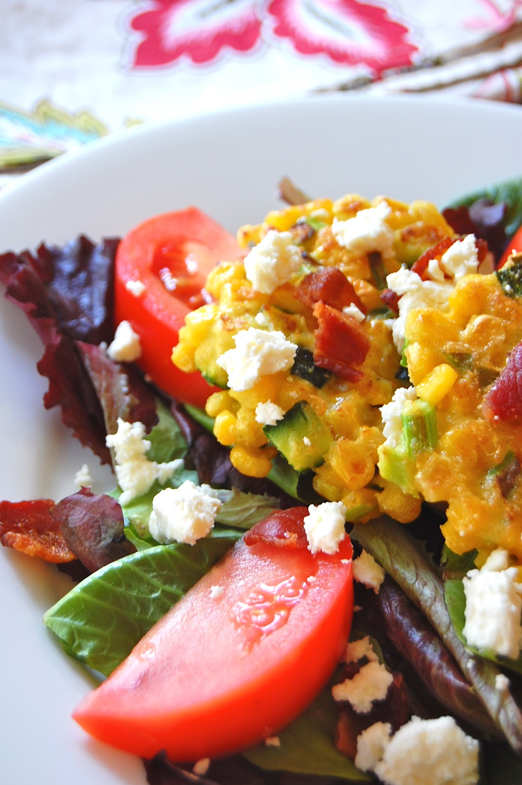 ... Verte: Mixed Green Salad with Sweet Corn Cakes, Bacon and Goat Cheese