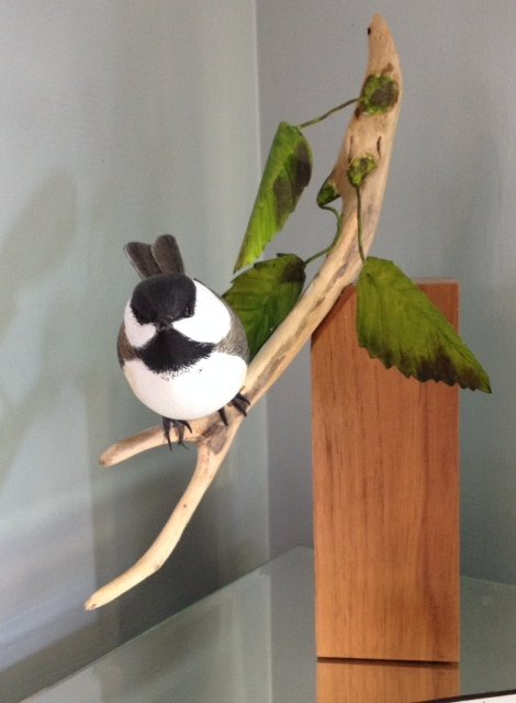 Chickadee, sculpture, carving, wood, Tom Scanlan