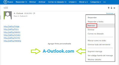reenviar correo en outlook
