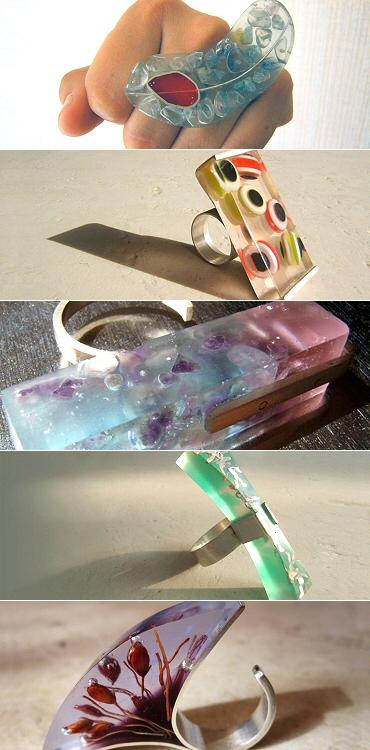 Anillos con resina cristal