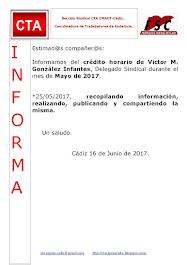 C.T.A. INFORMA CRÉDITO HORARIO VÍCTOR GONZALEZ, MAYO 2017