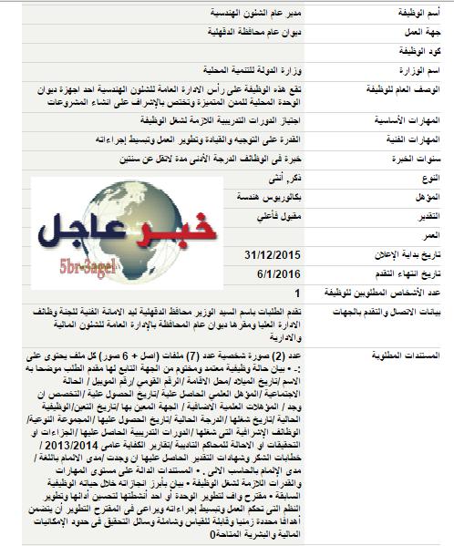 اعلان وظائف وزارة الدولة للتنمية المحلية الاوراق المطلوبة والتقديم حتى 6 / 1 / 2016