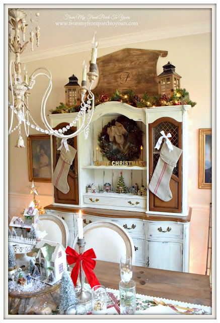 Cottage Style- Christmas Hutch-Christmas Village-Farmhouse Christmas Dining Room- From My Front Porch To Yours