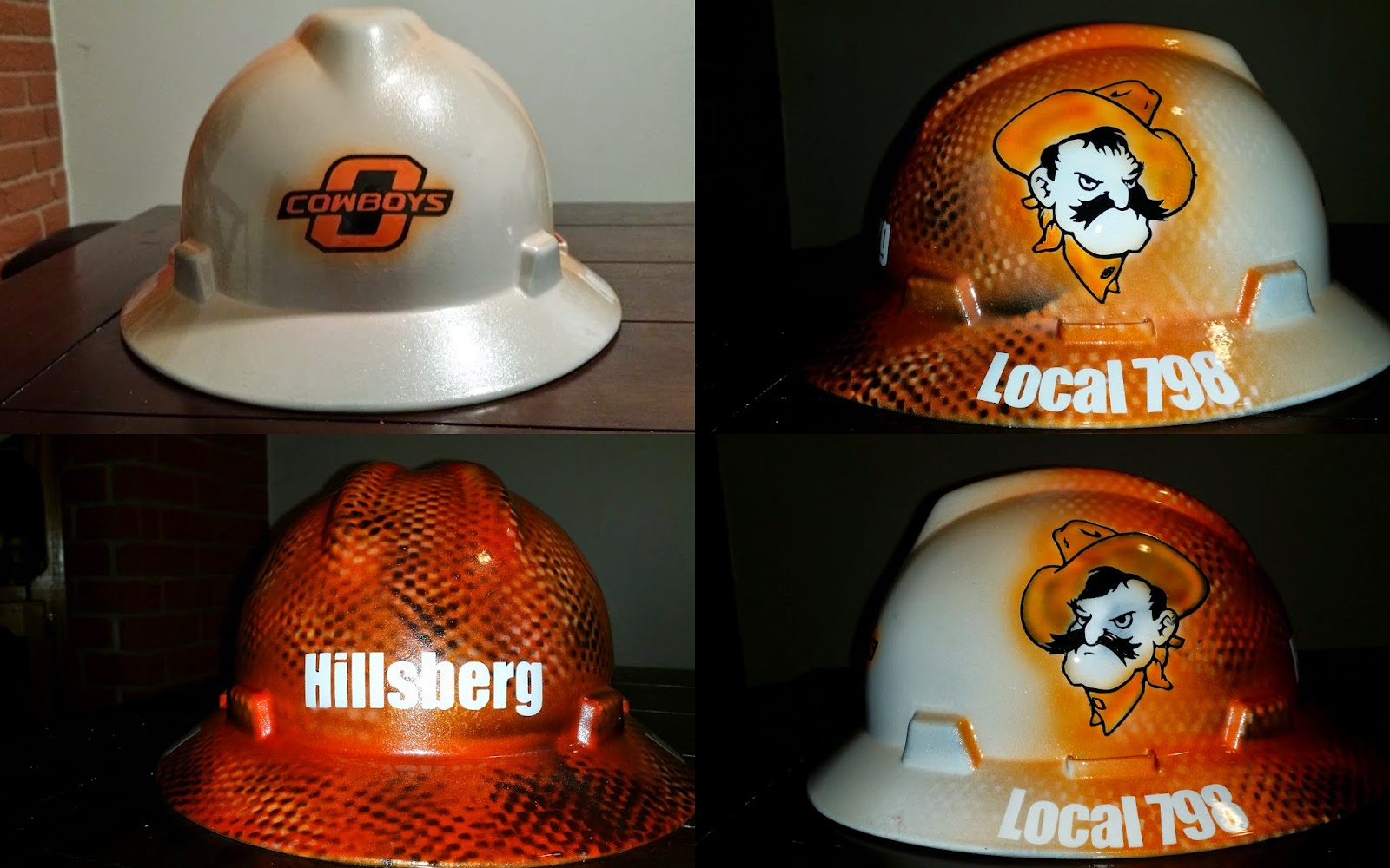 Orange Oklahoma Cowboys airbrushed hard hat
