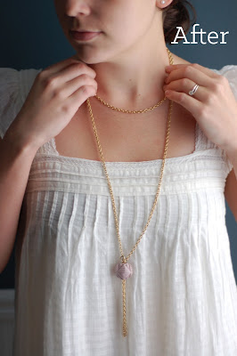 A new long chain and bead necklace made from recycled vintage materials