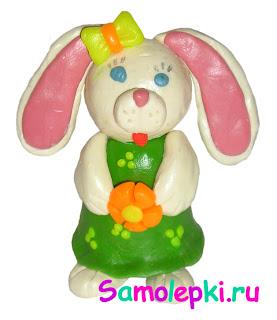 самолепки заяц из пластилина