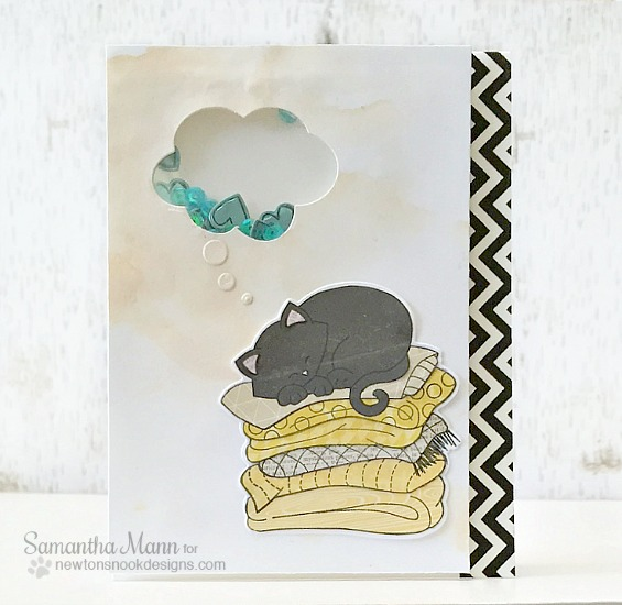 Dreaming Cat Shaker Card by Samantha Mann | Newton's Naptime Stamp set by Newton's Nook designs