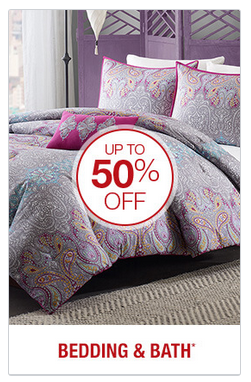 50% off bedding and bath