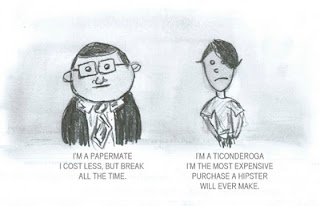 cartoon of a papermate and a ticonderoga