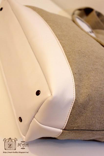 Соединение дна и стенок сумки. Отделочные строчки специальными нитками.