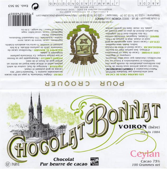 tablette de chocolat noir dégustation bonnat noir ceylan