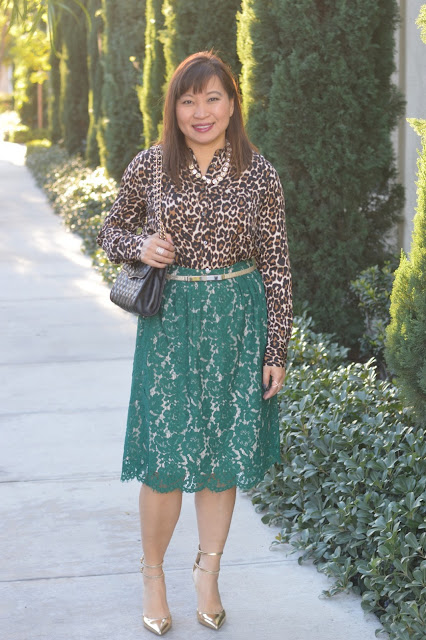 J Crew Contrast Lace skirt, J Crew collarless pocket top in Leopard