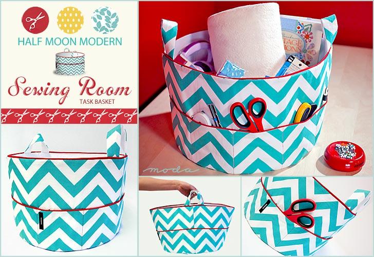 Cantinho craft cesta de costura em patchwork - Cesta de costura ...