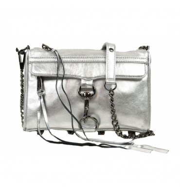 Rebecca Minkoff Mini MAC Silver Metallic Crossbody Clutch