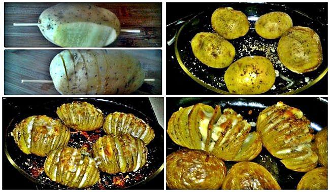Preparación de las patatas hasselback