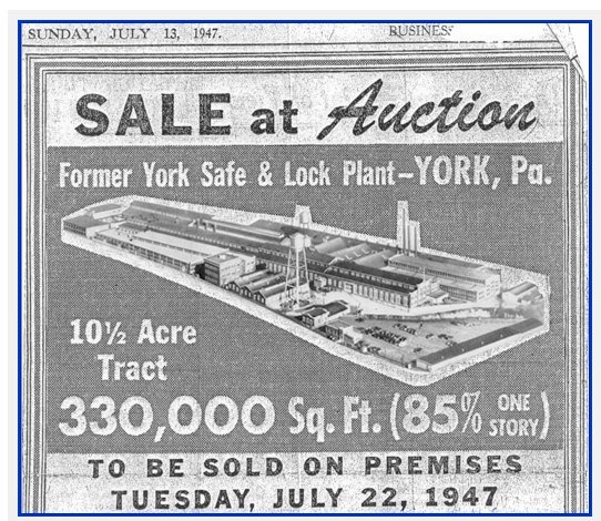 york safe. and the navy had to step in make company work after laucks death. york safe lock closed some years end of war. n