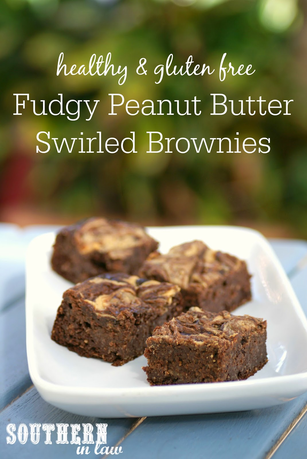Healthy Fudgy Peanut Butter Swirled Brownies - low fat, gluten free, healthy, freezer friendly