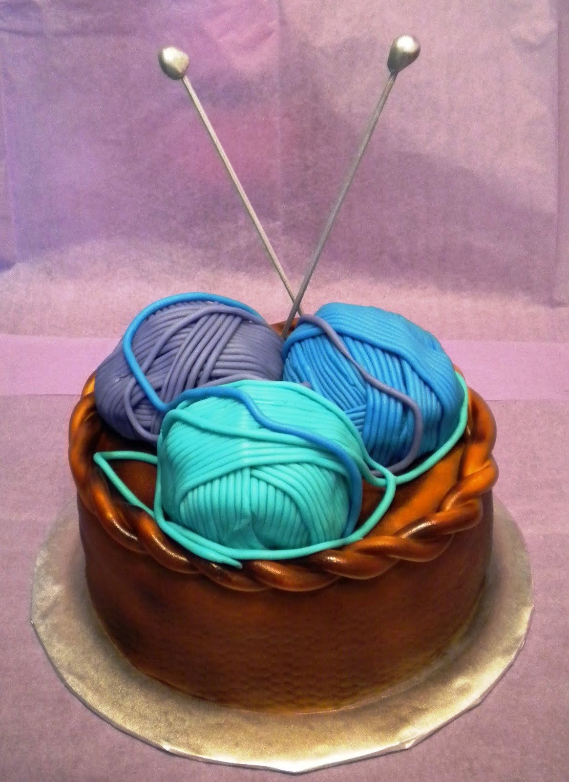 Rosas Birthday Cake Martins Mom The Basket Is Chocolate And Yarn Balls Are Actually