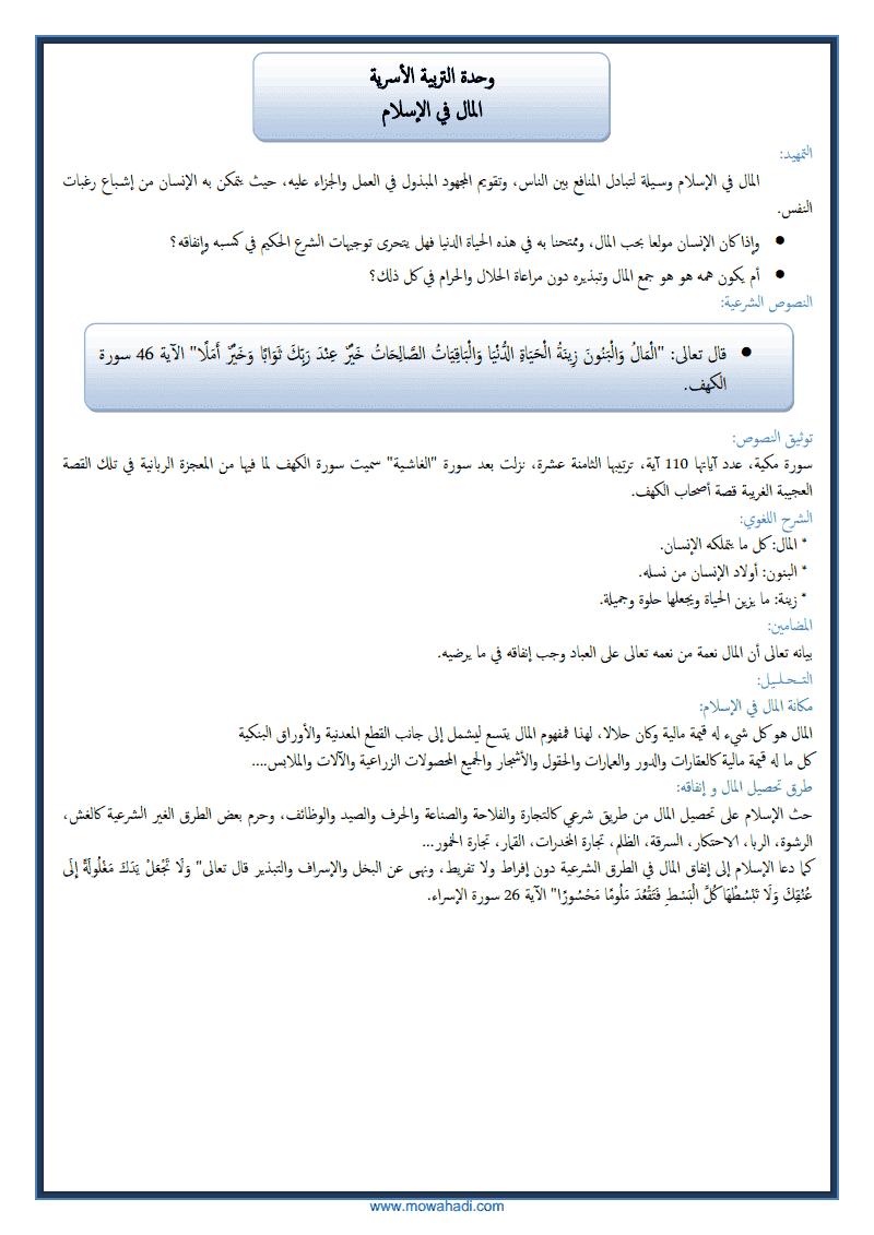 المال في الاسلام