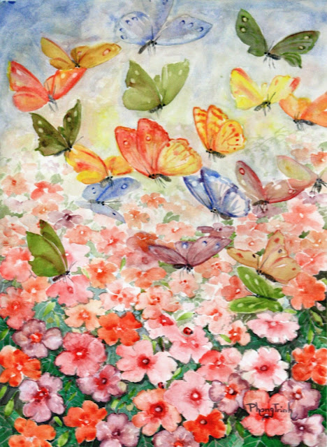 Beautiful vibrant water-colour painting flowering garden with butterflies