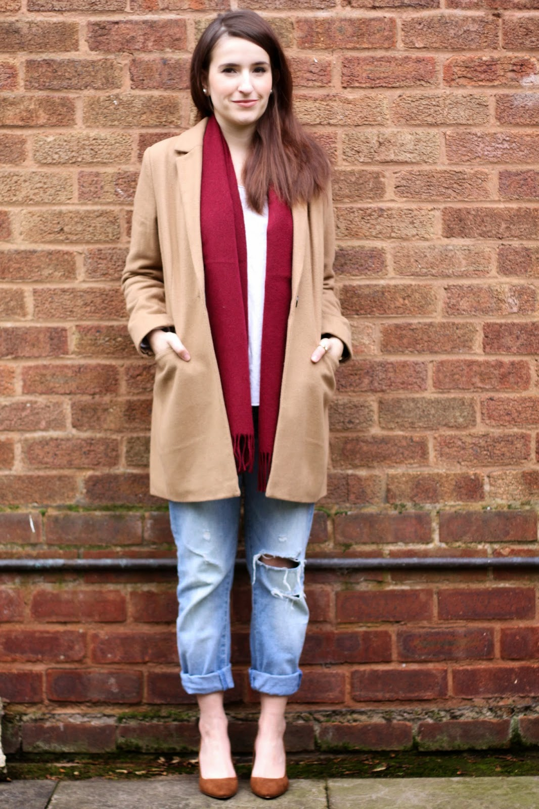 Camel coat and burgundy scarf