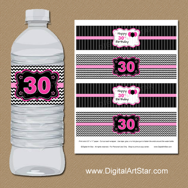 30th Birthday Water Bottle Labels - Instant Download