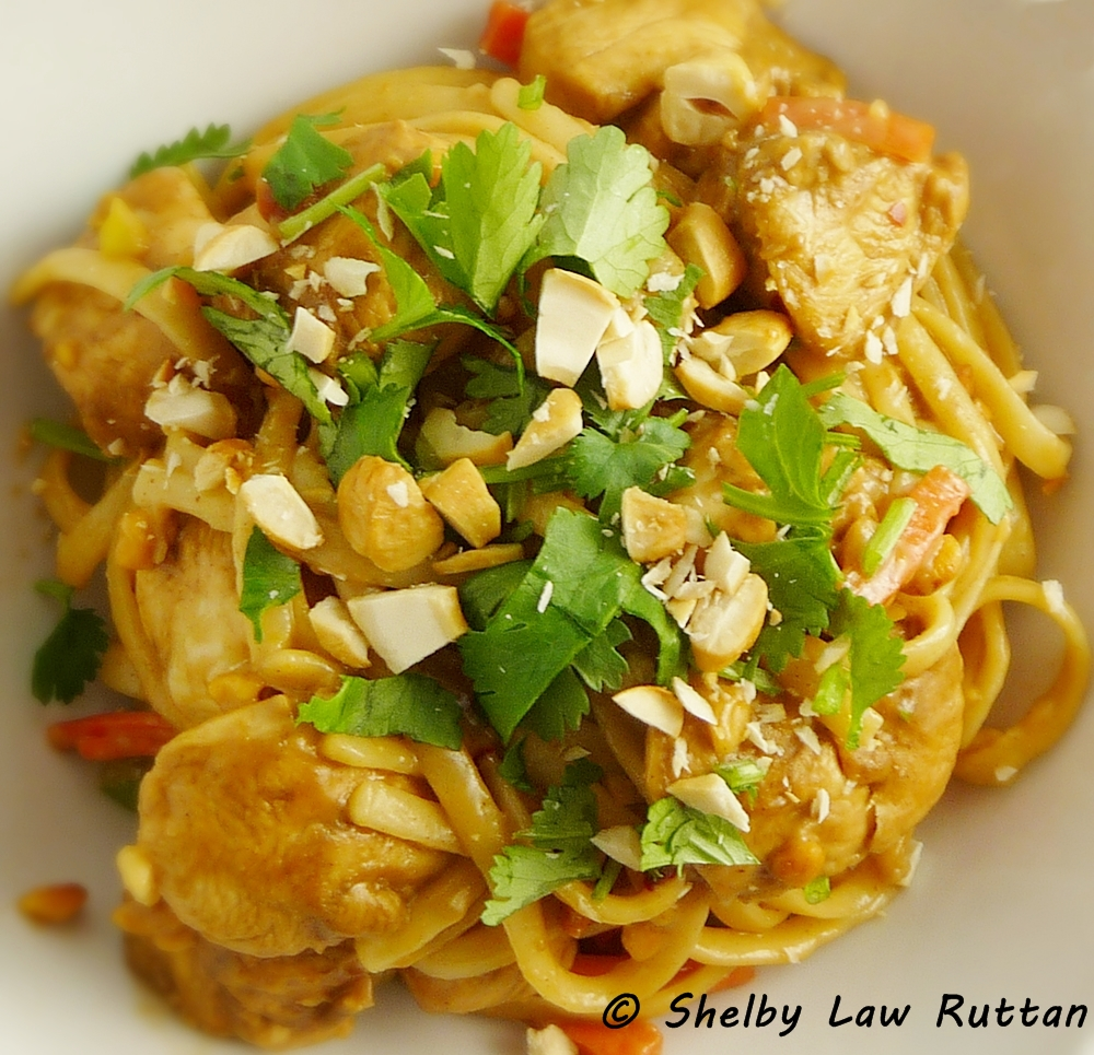 Thai Peanut Chicken and Noodles - Grumpy's Honey Bunch