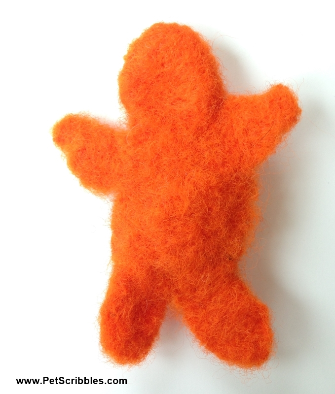 An orange needle-felted blob: a craft fail proudly shared by Laura of Pet Scribbles!