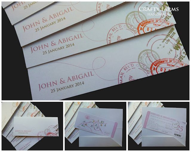 budget and simple handmade boarding pass travel for wedding