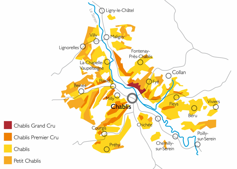 Die Appellationen in der Region Chablis © BIVB