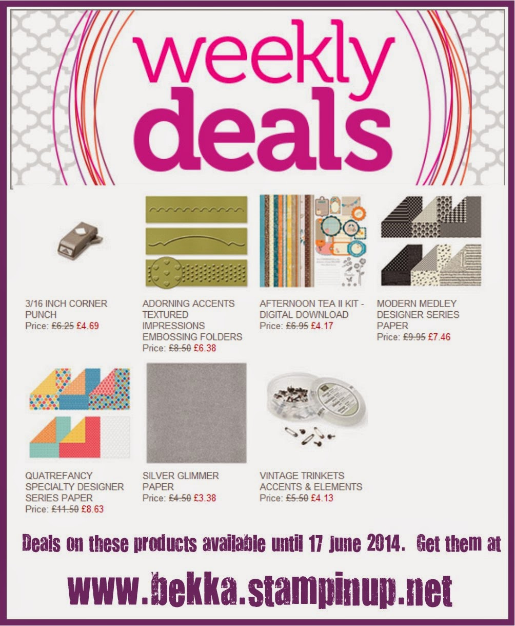 Weekly deals from Stampin' Up! UK available at www.bekka.stampinup.net