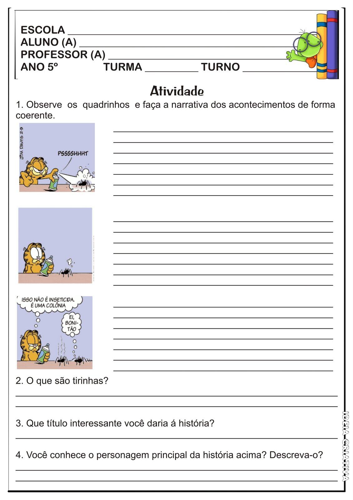 Suficiente Atividade Gênero Textual / Tirinha Garfield   Ideia Criativa - Gi  LQ79