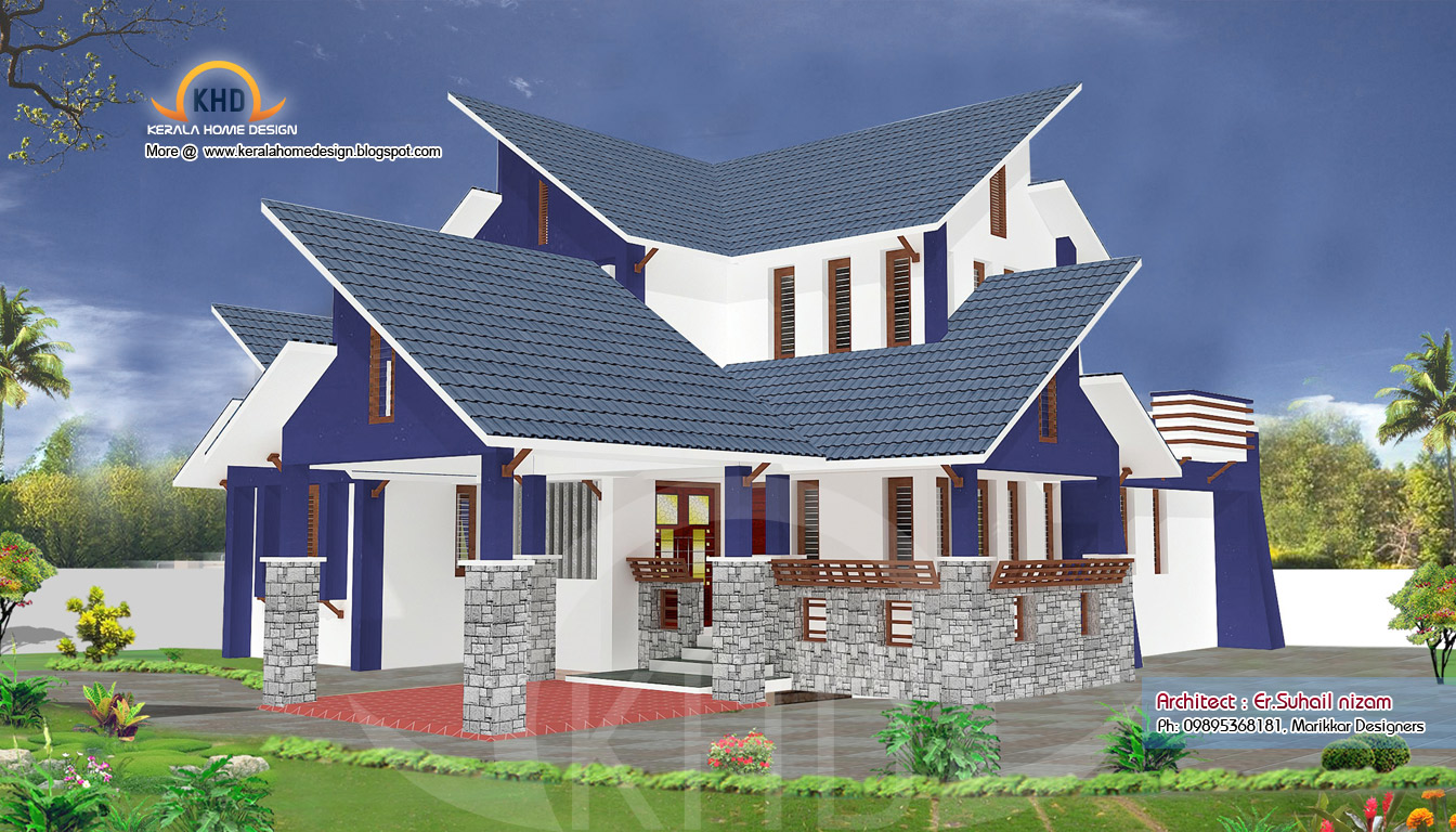 home plan and elevation 2302 sq ft kerala house design idea