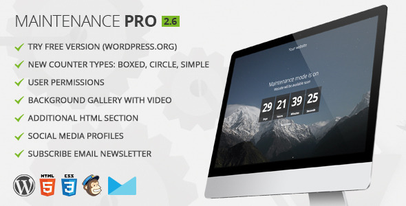 Free Download Maintenance PRO V2.6 WordPress plugin