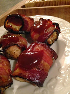 Bacon Wrapped Chicken Bites with BBQ Sauce from Turnips 2 Tangerines
