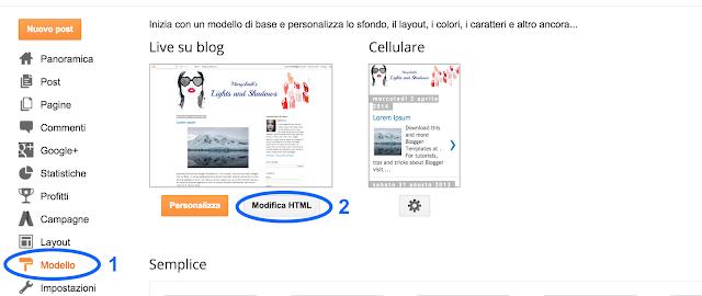 Modificare HTML del vostro modello